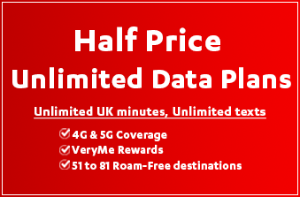 Vodafone Half Price Unlimited Data Plans October 2020